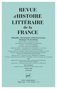 Alain Génetiot - Revue d'histoire littéraire de la France N° 1, Janvier-mars 2 : Bibliophilie, collectionnisme et littérature française - Hommage à Jean Bonna.