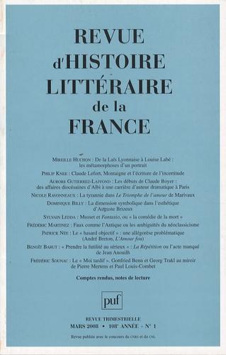 Mireille Huchon et Philip Knee - Revue d'histoire littéraire de la France N° 1, Mars 2008 : .