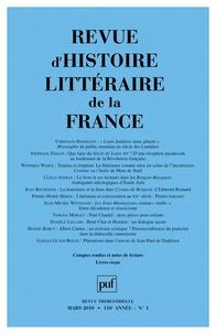 Christian Hammann et Stéphane Zékian - Revue d'histoire littéraire de la France N° 1, Mars  2010 : .