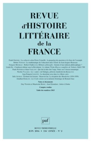 Alain Génetiot - Revue d'histoire littéraire de la France N° 2, juin 2016 : .