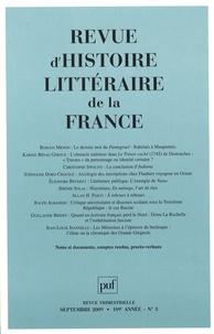 Romain Menini et Karine Bénac-Giroux - Revue d'histoire littéraire de la France N° 3, Septembre 2009 : .