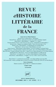Alain Génetiot - Revue d'histoire littéraire de la France N° 4, Décembre 2015 : Autour du Feu d'Henri Barbusse.