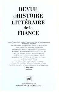 Alain Génetiot - Revue d'histoire littéraire de la France N° 4, décembre 2016 : .