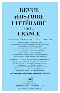 Jean-Yves Mollier et Elisabeth Parinet - Revue d'histoire littéraire de la France N° 4, Octobre-décemb : Editeurs et écrivains aux XIXe et XXe siècles.
