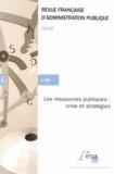 Robert Hertzog - Revue française d'administration publique N° 144 : Les ressources publiques : crise et stratégies.