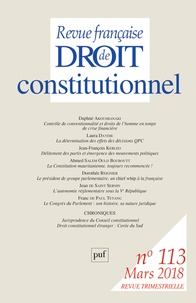 Sylvie Marcé - Revue française de Droit constitutionnel N° 113, mars 2018 : .