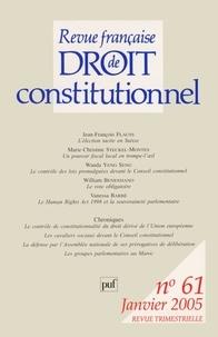 Jean-François Flauss et Marie-Christine Steckel - Revue française de Droit constitutionnel N° 61, Janvier 2005 : .