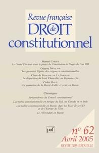 Manuel Carius et Grégory Mollion - Revue française de Droit constitutionnel N° 62, Avril 2005 : .