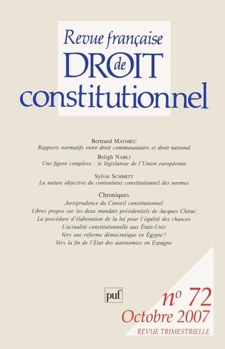 Bernard Mathieu et Béligh Nabli - Revue française de Droit constitutionnel N° 72, Octobre 2007 : .
