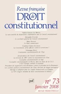 Valérie Goesel-Le Bihan et Alexandre Ciaudo - Revue française de Droit constitutionnel N° 73, Janvier 2008 : .