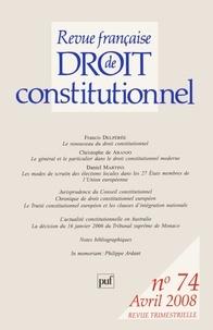 Francis Delpérée et Laurence Gay - Revue française de Droit constitutionnel N° 74, Avril 2008 : .