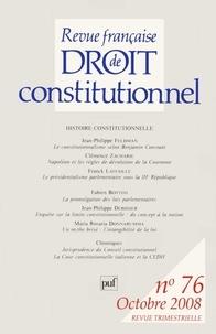 Jean-Philippe Feldman et Clémence Zacharie - Revue française de Droit constitutionnel N° 76, Octobre 2008 : .