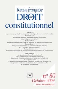 Didier Maus et Nathalie Droin - Revue française de Droit constitutionnel N° 80, Octobre 2009 : .