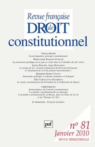 Vanessa Barbé et Xavier Philippe - Revue française de Droit constitutionnel N° 81, Janvier 2010 : .