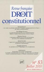 Edouard Dubout et Jean-Philippe Feldman - Revue française de Droit constitutionnel N° 83, juillet 2010 : .