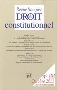 Arnaud Coutant et Hugues Rabault - Revue française de Droit constitutionnel N° 88, Octobre 2011 : .