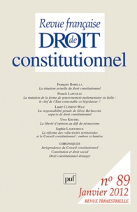 Alain Morvan - Revue française de Droit constitutionnel N° 89, Janvier 2012 : .