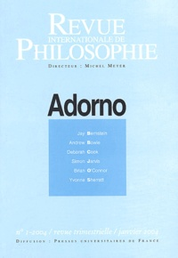 Anonyme - Revue internationale de philosophie N° 227 Janvier 2004 : Adorno.