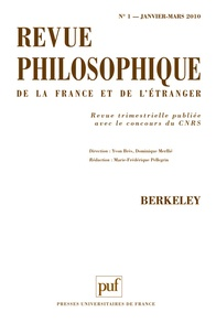 Geneviève Brykman et Richard Glauser - Revue philosophique N° 1, Janvier-Mars 2 : Berkeley.