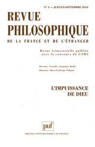 Gwenaëlle Aubry et Daniel De Smet - Revue philosophique N° 3, Juillet-septem : L'impuissance de Dieu.