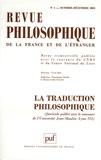 François Guery et Bernard Bourgeois - Revue philosophique N° 4, Octobre-Décemb : La traduction philosophique.