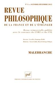 Yvon Brès et Dominique Merllié - Revue philosophique N° 4, Octobre-décemb : Malebranche.