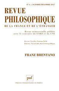 Yvon Brès et Dominique Merllié - Revue philosophique N° 4, octobre-décemb : Franz Brentano.