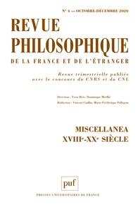 Yvon Brès et Dominique Merllié - Revue philosophique N° 4, octobre-décemb : Miscellanea XVIIIe-XXe siècle.