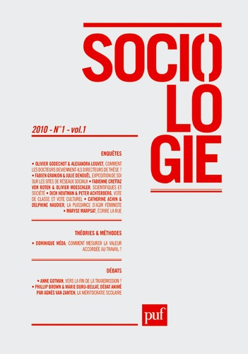 Olivier Godechot et Fabien Granjon - Sociologie Volume 1 N° 1/2010 : .