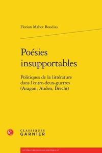 Deedr.fr Poésies insupportables - Politiques de la littérature dans l'entre-deux-guerres (Aragon, Auden, Brecht) Image