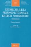 Florian Linditch - Recherche sur la personnalité morale en droit administratif.