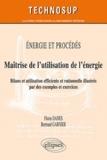 Florin Danes et Bertrand Garnier - Energie et procédés : Maîtrise de l'utilisation de l'énergie - Bilan et utilisation efficiente et rationnelle, illustrés par des exemples et excercies corrigés.