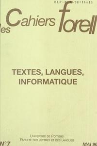 Formes et représentations en l et Jean-Louis Duchet - Textes, langues, informatique (1).