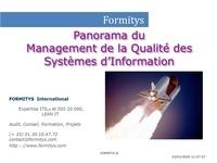 Formitys Formitys - Panorama du Management de la Qualité des Systèmes d'Information.