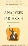 Francine Batailler et Alain Schifres - Analyses de presse.