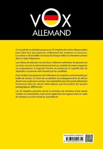 Vox Allemand. Le vocabulaire incontournable des examens et concours classé par niveaux 2e édition