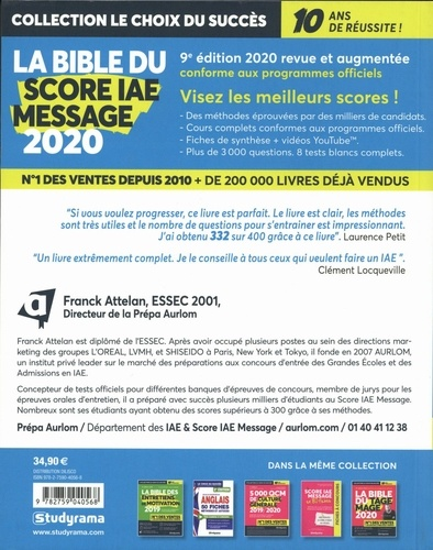 Le bible du score IAE message  Edition 2020