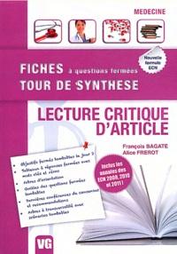François Bagate et Alice Frerot - Lecture critique d'article.