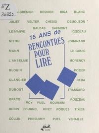 François de Cornière - 15 ans de «Rencontres pour lire».