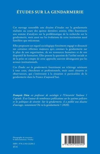 Etudes sur la gendarmerie. Regard sociologique sur une institution à l'épreuve du changement social