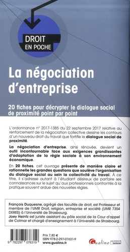 La négociation d'entreprise. 20 fiches pour décrypter le dialogue social de proximité point par point