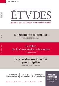 François Euvé - Etudes N° 4275, octobre 202 : L'hégémonie hindouiste ; Le bilan de la Convention citoyenne ; Leçon du confinement pour l'Eglise.