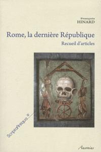 Rome, la dernière République- Recueil d'articles - François Hinard | Showmesound.org