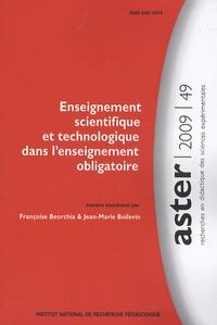 Françoise Beorchia et Jean-Marie Boilevin - Aster n°49, 2009 : Enseignement scientifique et technologique dans l'enseignement obligatoire.