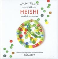 Françoise Vauzeilles - Bracelet Heishi - Modèle et accessoires. Avec 20 cm de perles Heishi multicolores, 2 perles rondes en métal, 1 fermoir à ressort et 1 anneau, 40 cm de fil transparent élastique, 1 livre d'explications.