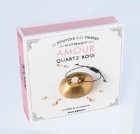Françoise Vauzeilles - Le pouvoir des pierres amour - Modèle & accessoires. Avec 1 perle ronde en quartz rose naturel, 2 petites perles dorées, 70 cm de coton ciré et un livre d'explication.