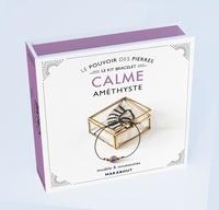 Françoise Vauzeilles - Le pouvoir des pierres calme - Modèle & accesoires. Avec 1 perle ronde en améthyste naturelle, 2 prles dorées, 70 cm de coton ciré et un livre d'explication.