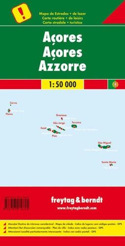 Açores. 1/50 000, carte routière + de loisirs