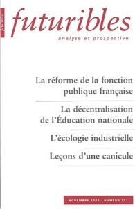 Hugues de Jouvenel et Marcel Pochard - Futuribles N° 291 Novembre 2003 : La réforme de la fonction publique française, La décentralisation de l'Education nationale, L'écologie industrielle, Leçons d'une canicule.