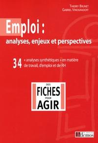 Gabriel Vinogradoff et Thierry Brunet - Emploi : analyses, enjeux et perspectives - 34 analyses synthétiques en matière de travail, d'emploi et de RH.